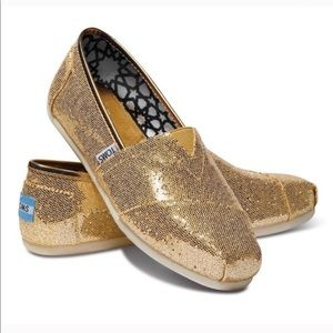 Toms Gold Sequin Classic Woman's Shoes Size 9